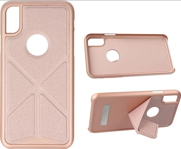 FOLDABLE STAND ETUI NA TELEFON IPHONE X XS A1901/A1920 STOJAK ROSE GOLD