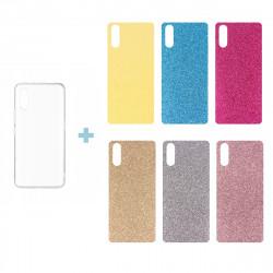 CLEAR 0.3mm ETUI NA TELEFON LG K3 LS450 + 6x WKŁADKA BROKATOWA
