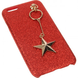 GUMA GLITTER STAR ETUI NA TELEFON IPHONE 6 4.7''A1586 /A1688 CZERWONY
