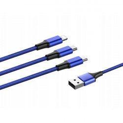 KABEL USB SZNUREK 3W1 NIEBIESKI