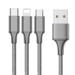 KABEL USB SZNUREK 3W1 SREBRNY