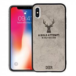 ETUI DEER IPHONE X/XS SZARY