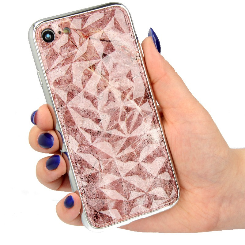 "ETUI GLASS DIAMONDS MARMUR NA TELEFON  IPHONE 7 4.7"" wzór1"