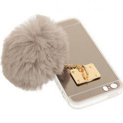 MIRROR CASE POMPON ETUI NA TELEFON IPHONE 5G A1533/A1428 SZARY