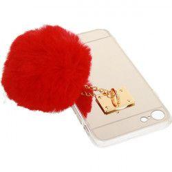 MIRROR CASE POMPON ETUI NA TELEFON IPHONE 7 4.7''A1778/A1905 CZERWONY