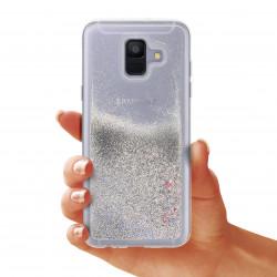 ETUI GUMA LIQUID NA TELEFON SAMSUNG A6 2018 SREBRNY
