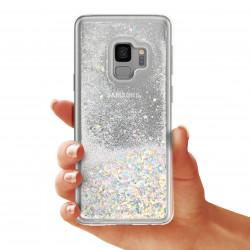 ETUI LIQUID SPARKLE NA TELEFON SAMSUNG S9 SREBRNY