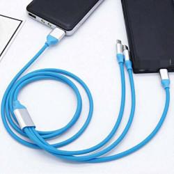 KABEL USB 3w1 GUMOWY NIEBIESKI