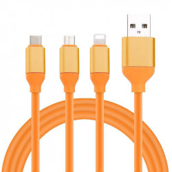 KABEL USB 3w1 GUMOWY POMARAŃCZOWY