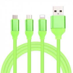 KABEL USB 3w1 GUMOWY ZIELONY