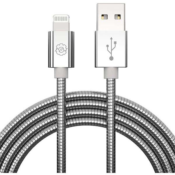 KABEL USB METAL IPHONE SREBRNY