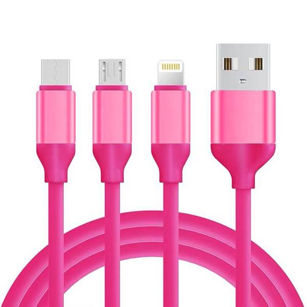 KABEL USB 3w1 GUMOWY RÓŻOWY
