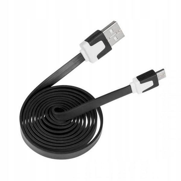 KABEL USB MICRO - PŁASKI CZARNY