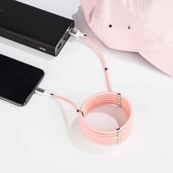 KABEL USB IPHONE MAGNETYCZNY ZWIJANY SZYBKIE ŁADOWANIE RÓŻOWY