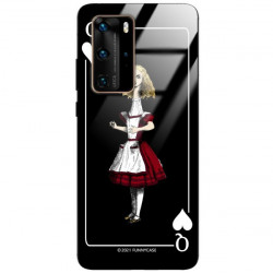ETUI BLACK CASE GLASS NA TELEFON HUAWEI P40 PRO PLUS ST_QUEEN-OF-CARDS-202