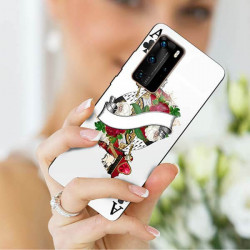 ETUI BLACK CASE GLASS NA TELEFON HUAWEI P40 PRO PLUS ST_QUEEN-OF-CARDS-203