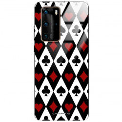 ETUI BLACK CASE GLASS NA TELEFON HUAWEI P40 PRO PLUS ST_QUEEN-OF-CARDS-206