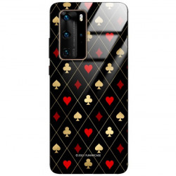 ETUI BLACK CASE GLASS NA TELEFON HUAWEI P40 PRO PLUS ST_QUEEN-OF-CARDS-207